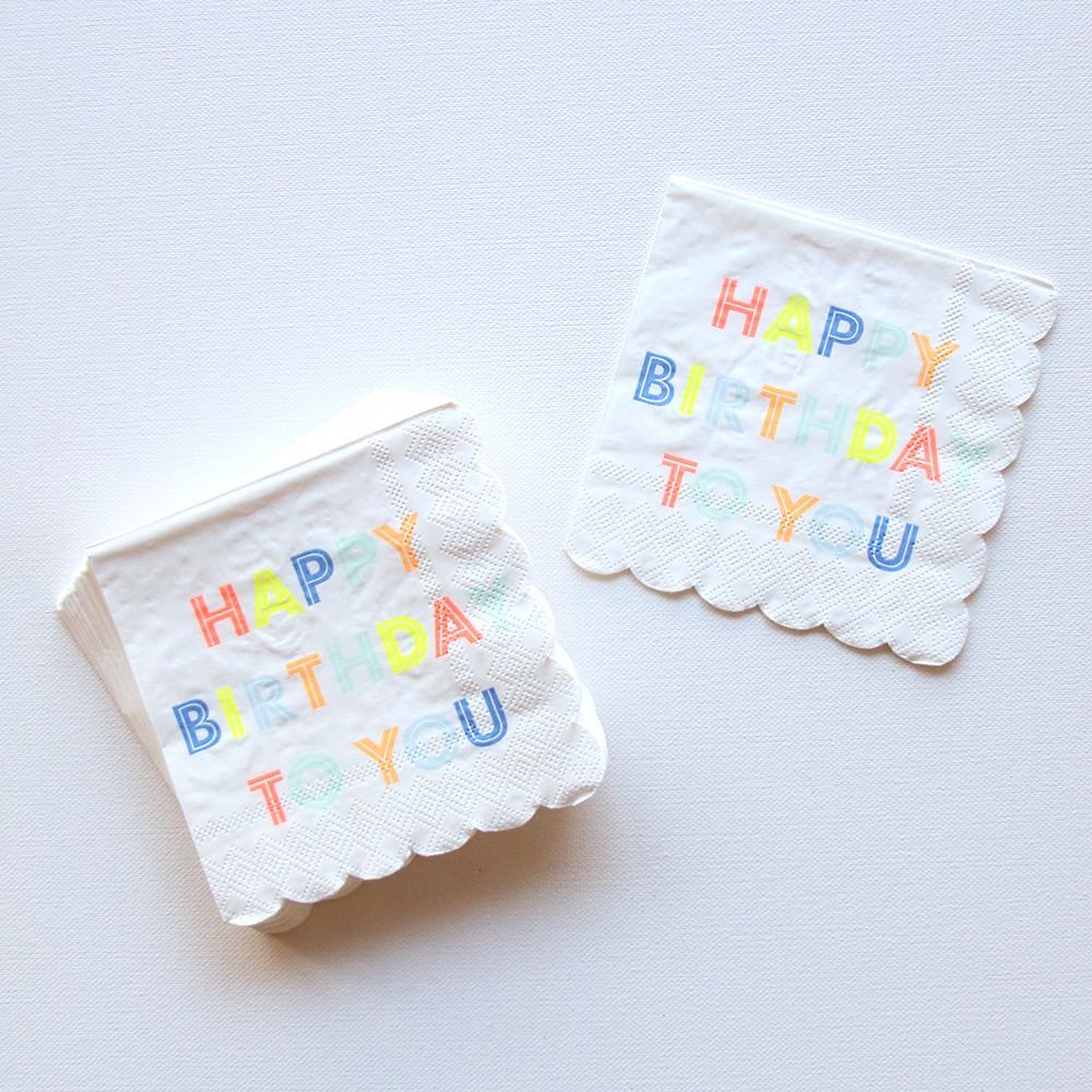 Small Neon Birthday Party Napkins