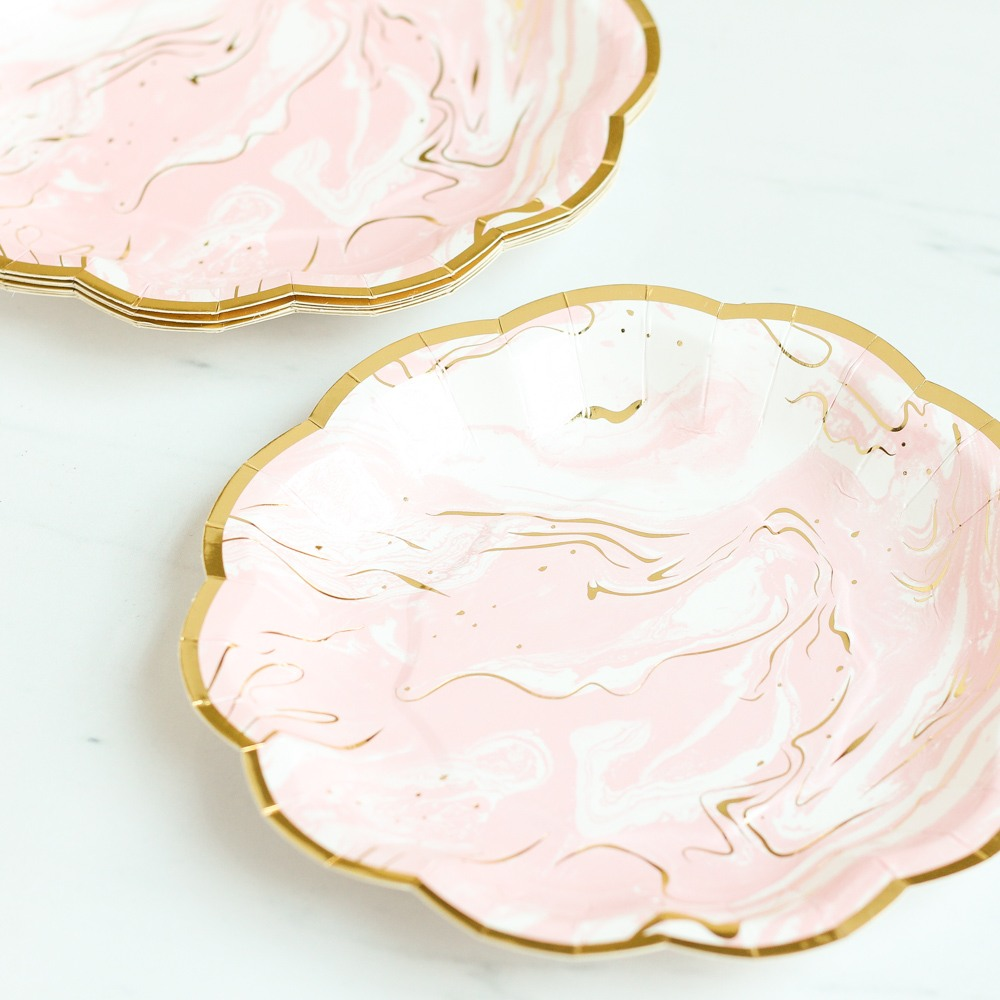 Pink Marble Plates 9567