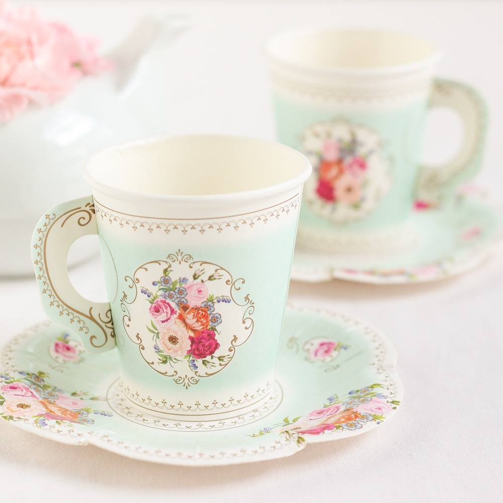 Paper Tea Cup & Saucer Set 9569