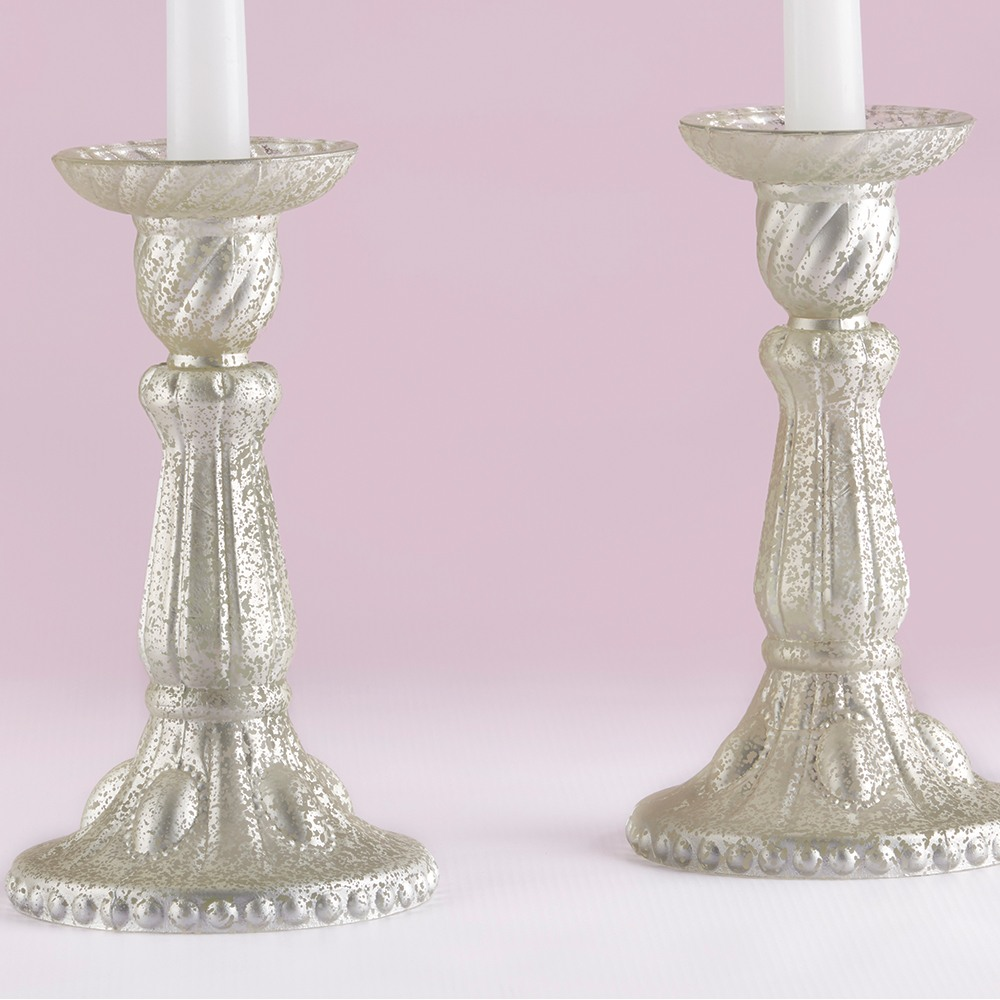 Frosted Mercury Glass Candlesticks 9597