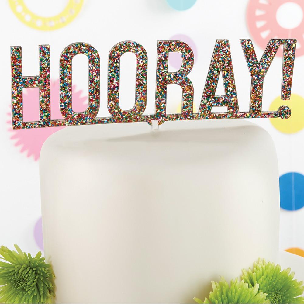 Hooray Glitter Acrylic Cake Topper