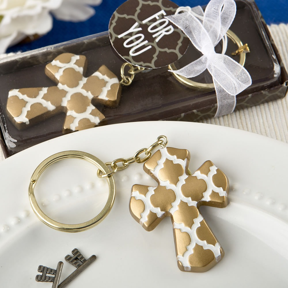 Gold Cross Keychain Favors
