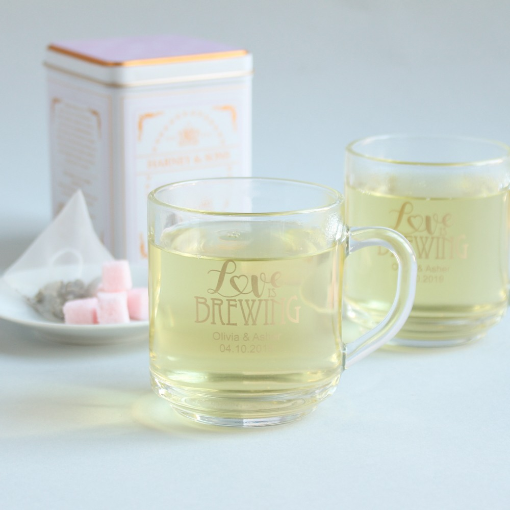 Personalized Love is Brewing Glass Mug