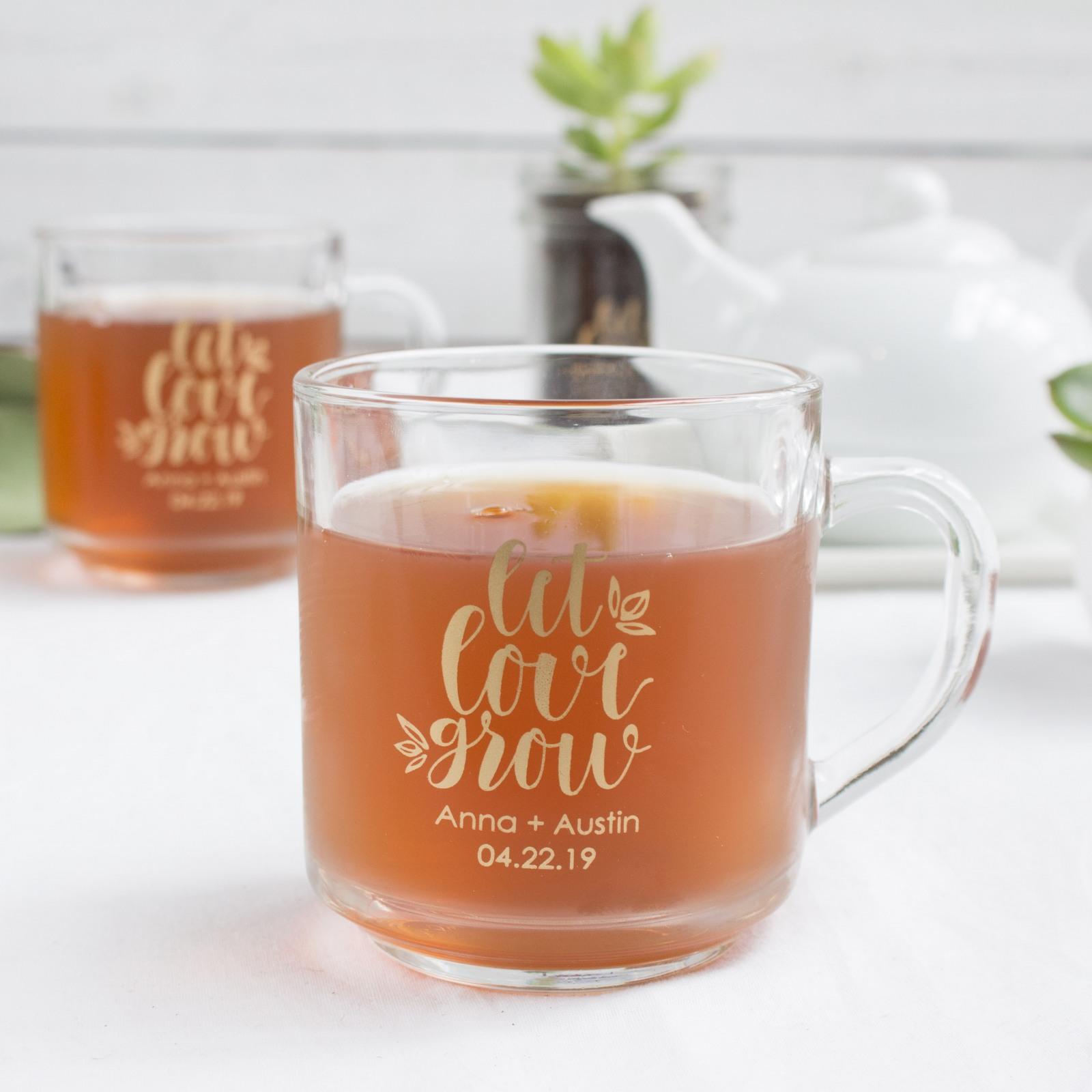 Personalized Let Love Grow Glass Mug