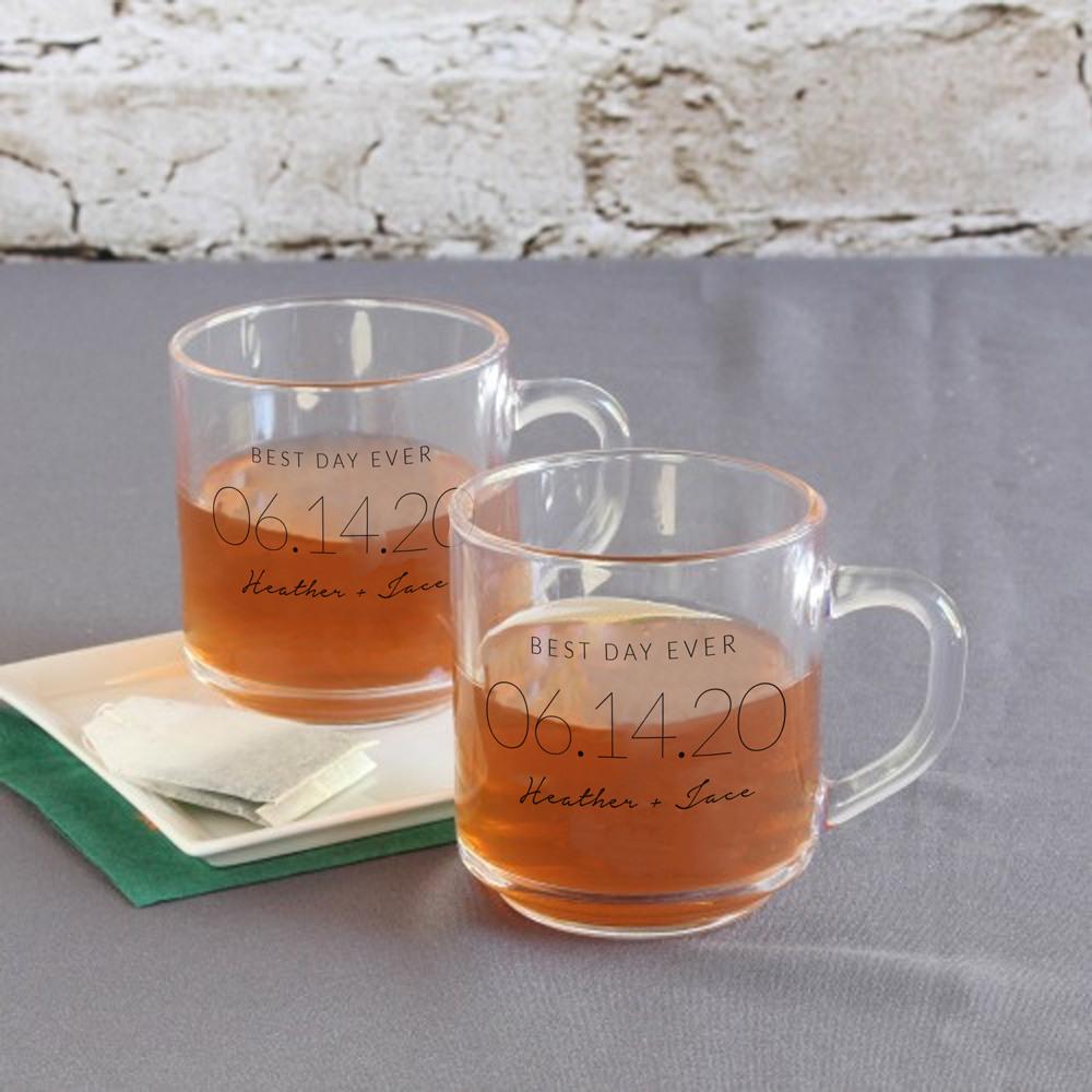 Personalized Wedding Date Glass Mug