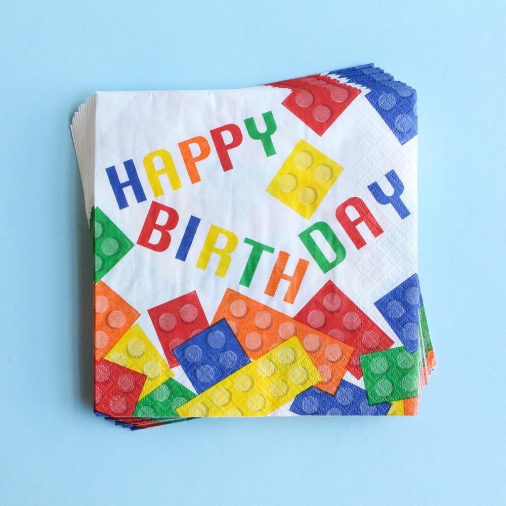 Block Birthday Luncheon Napkins 9866