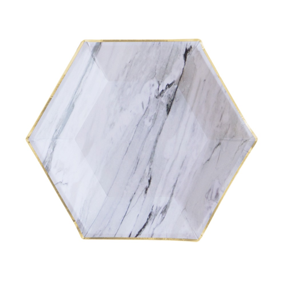 Grey Marble Hexagon Small Plate