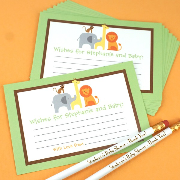 Personalized Safari Baby Shower Advice Cards