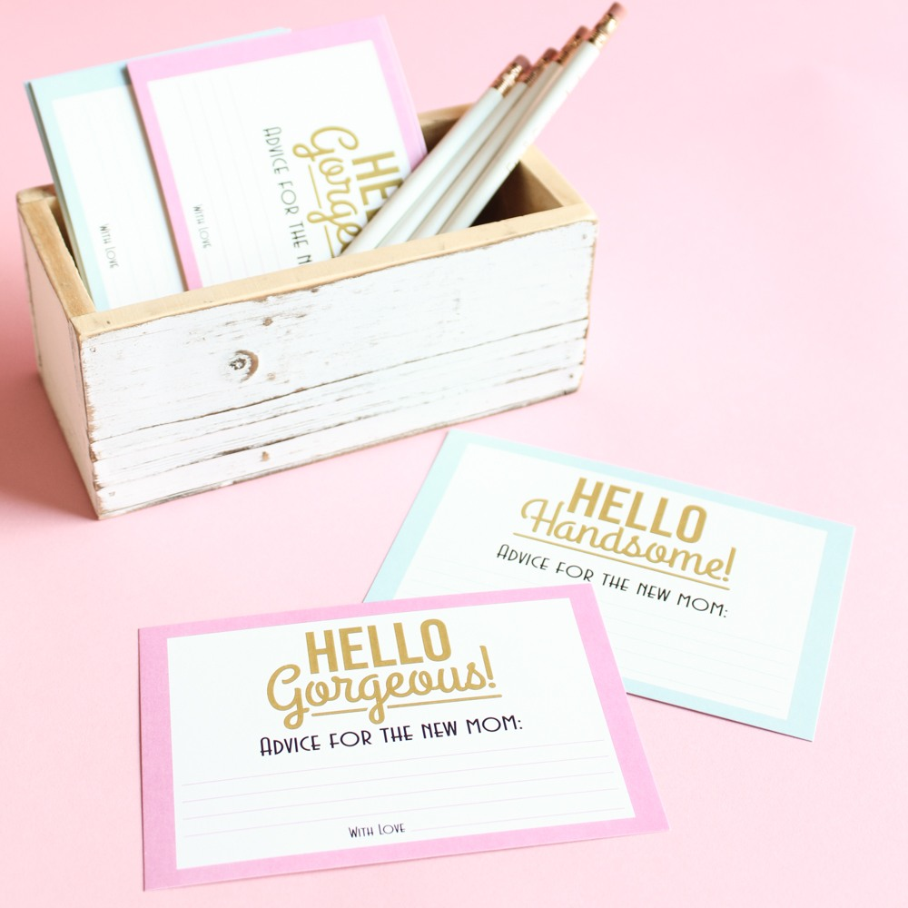 Personalized Gorgeous and Handsome Baby Shower Advice Cards