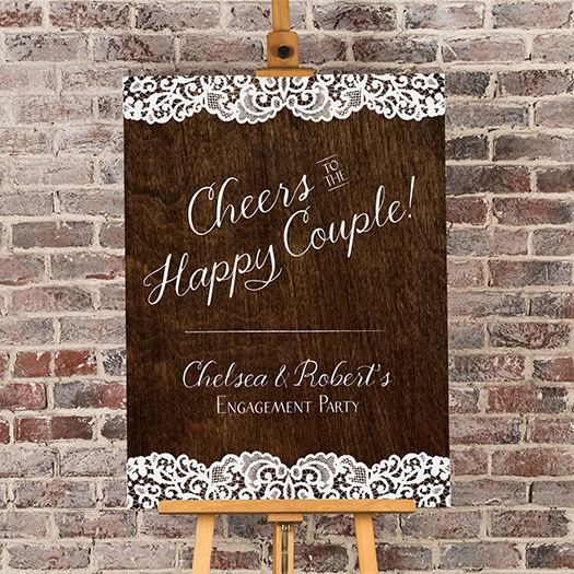 Personalized Cheers Woodgrain Welcome Poster