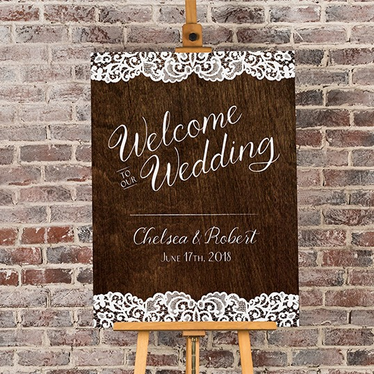 Personalized Woodgrain Welcome Poster 9943