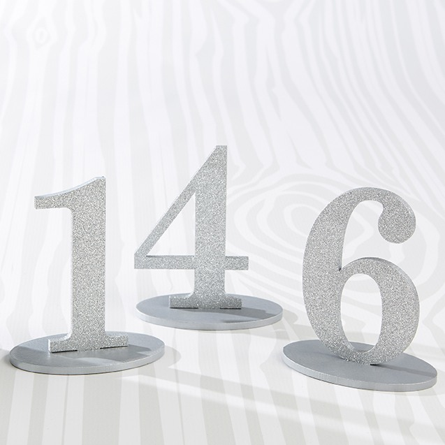 Silver Glitter Acrylic Table Numbers 9999