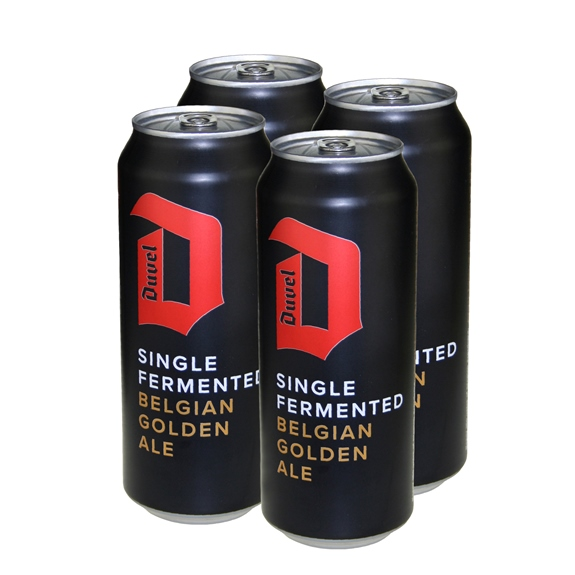 Duvel Single Fermented Belgian Golden Ale (4-can pack)