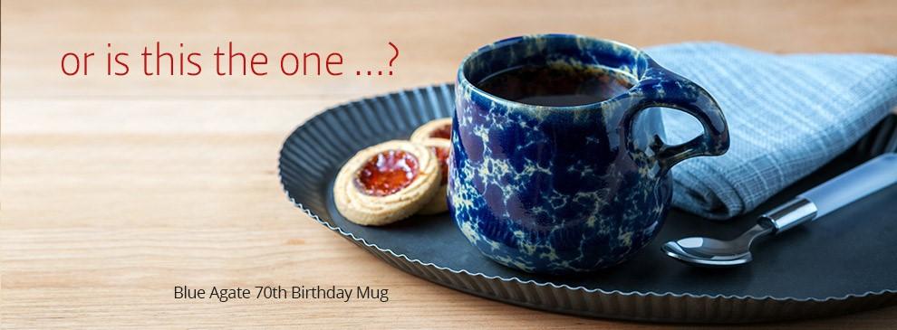 Bennington Potters handmade free gift stoneware 70th Birthday Mug
