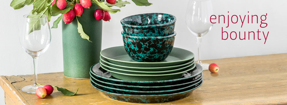 Elegant functional stoneware pottery Dinnerware for holiday and every day