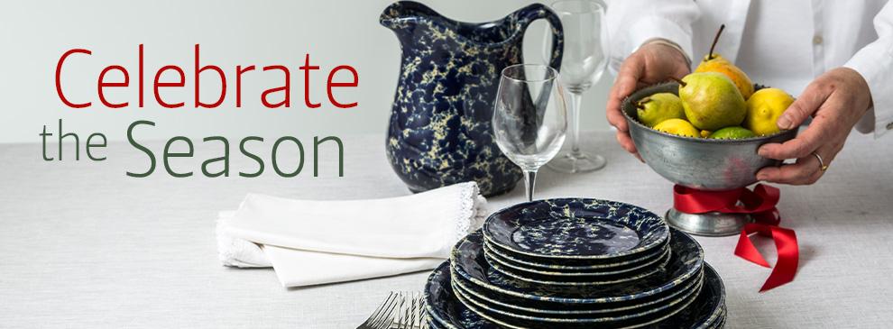 Bennington Potters Blue Agate Stoneware Pottery Handmade in Bennington Vermont
