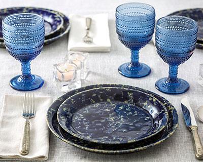 Lumina Blue Hobnail Goblets Set of 4