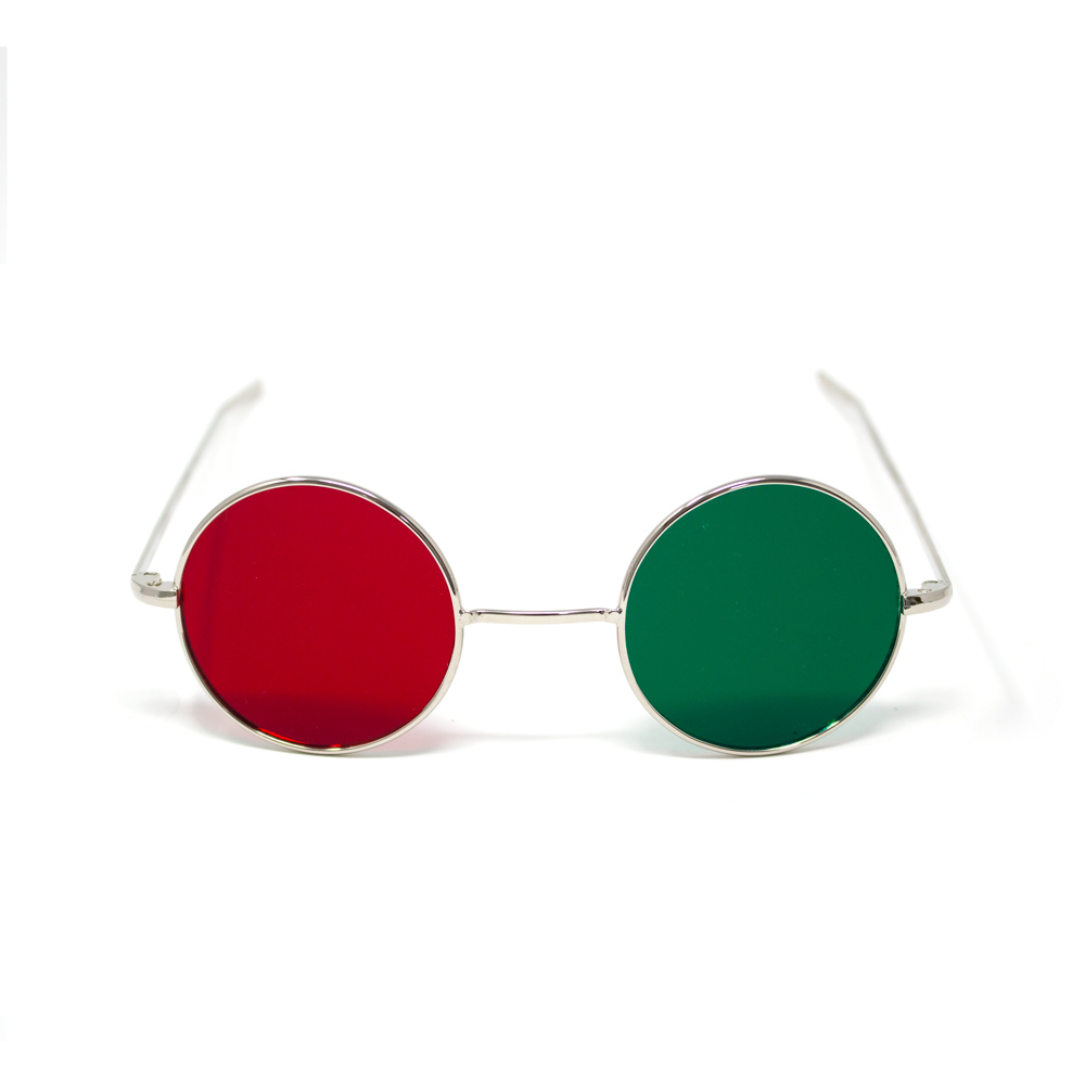 Reversible Metal Frame Glasses - Red/Green, Red/Blue & Lensless - Reversible Metal Frame with Red/Green Lenses
