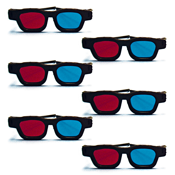 Original Bernell Model - Red/Blue Computer Goggles (Pkg. of 6)