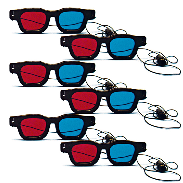 Original Bernell Model - Red/Blue Computer Goggles with Elastic (Pkg. of 6)