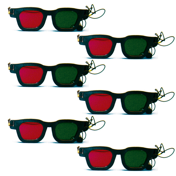 Original Bernell Model - Red/Green Goggles with Elastic (Pkg. of 6)