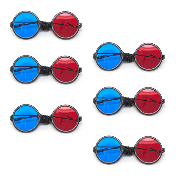 Child Size - Red/Blue Reversible Computer Goggles with Elastic (Pkg. of 6)