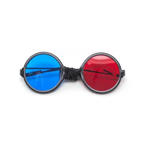 Child Size - Red/Blue Reversible Computer Goggles with Elastic (Single Pair)
