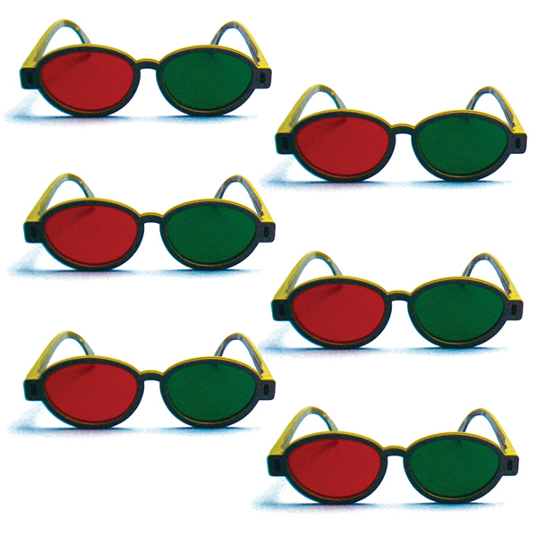 Modern Model - Red/Green Goggles (Lenses Not Glued) - Pkg. of 6