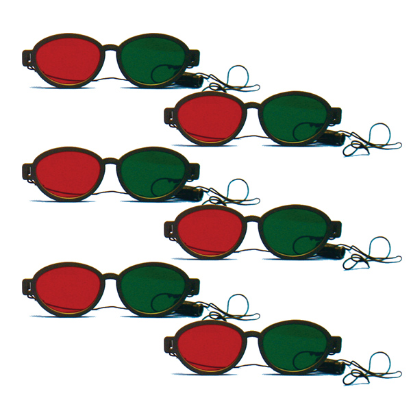 Modern Model - Red/Green Goggles with Elastic (Lenses Not Glued) - Pkg. of 6