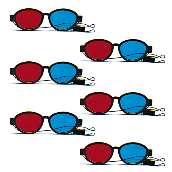 Modern Model - Red/Blue Computer Goggles with Elastic (Pkg. of 6)