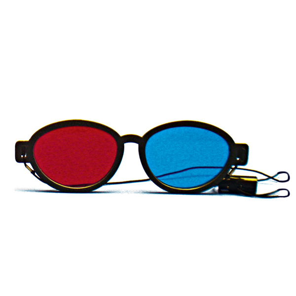 Modern Model - Red/Blue Computer Goggles with Elastic (Lenses Not Glued) - Single