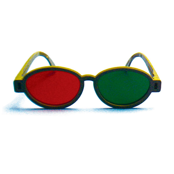 Bernell Modern Model - Red/Green Goggles (Lenses Not Glued) - Single