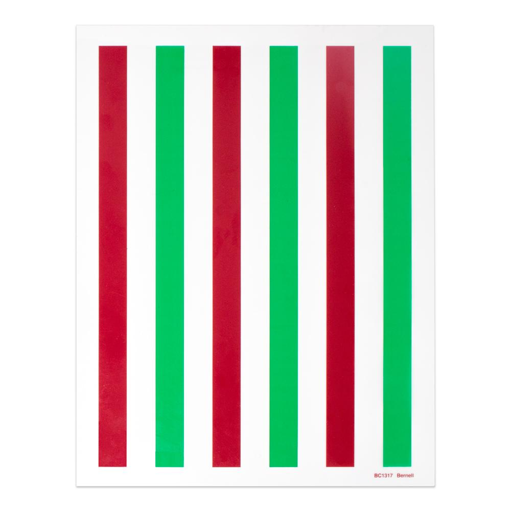 "Red/Green - 8-1/2"" x 11"" | 6 Bars | 2/3"" Bar Width"