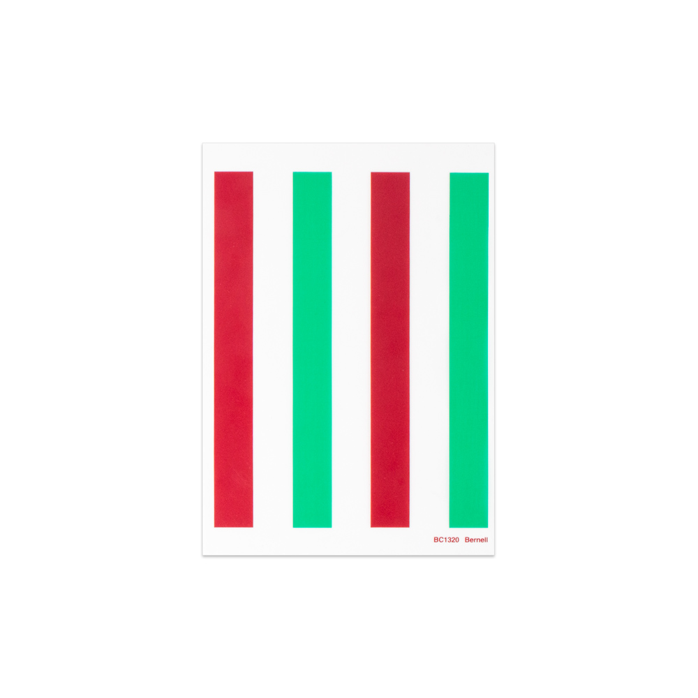 "Red/Green - 5"" x 7"" | 4 Bars | 2/3"" Bar Width"