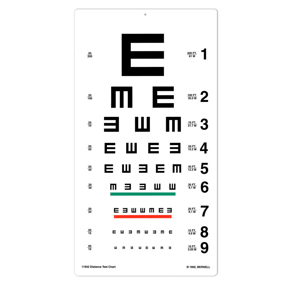 Symbol eye charts bernell corporation tumbling e 20ft test chart geenschuldenfo Gallery