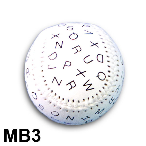 Baseball with Letters in 24pt (6mm) Font