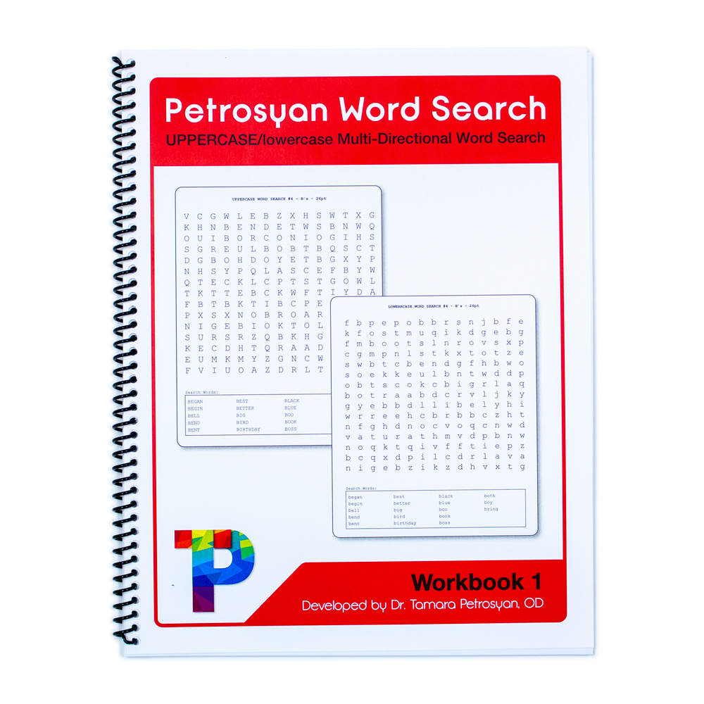 Petrosyan Word Search Workbook 1 - UPPERCASE/lowercase Multi-Directional Word Search