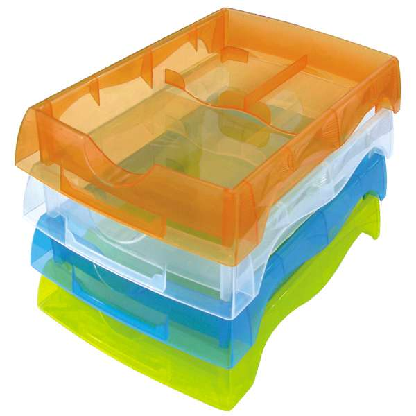 Deep Deluxe Stackable Trays with Dividers - Pkg of 5