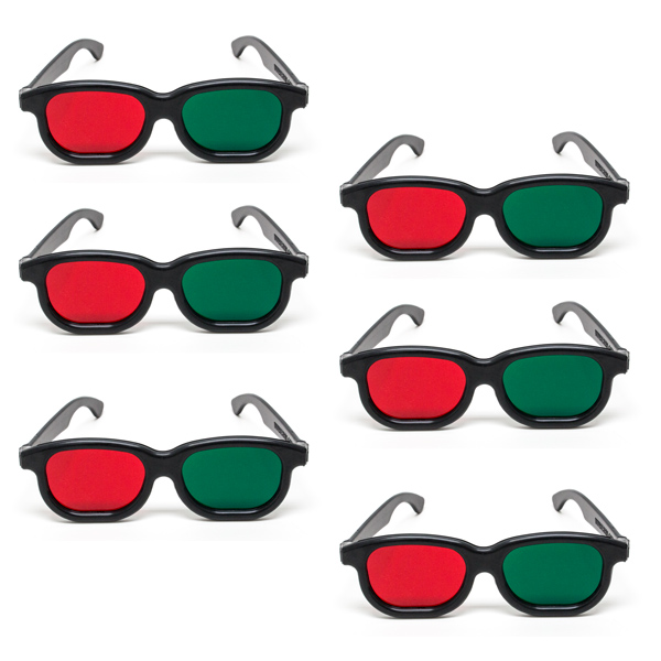 New Age - Red/Green Goggles - (Lenses Not Glued) - Pkg. of 6