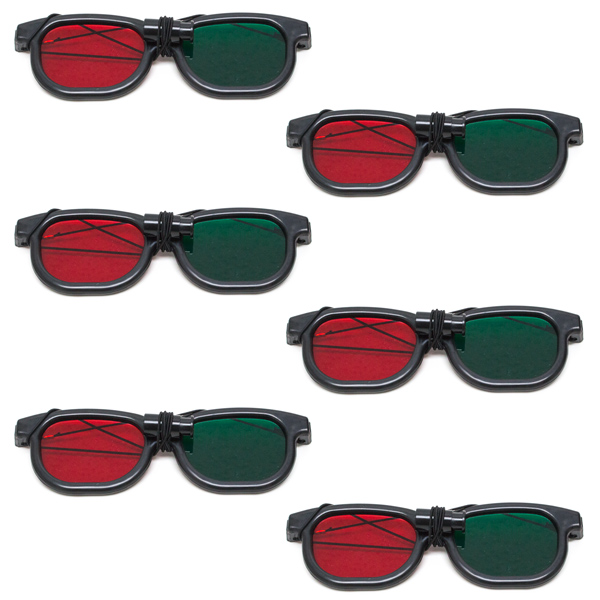 New Age - Red/Green Goggles with Elastic - (Lenses Not Glued) - Pkg. of 6
