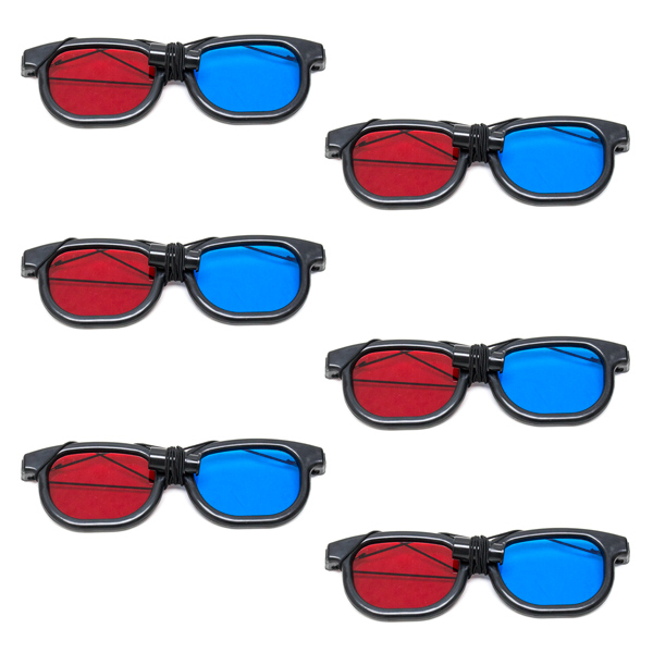 New Age - Red/Blue Computer Goggles with Elastic - (Lenses Not Glued) - Pkg. of 6