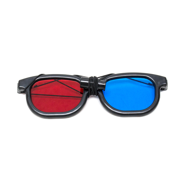New Age - Red/Blue Computer Goggles with Elastic - (Lenses Not Glued) - Single Pair