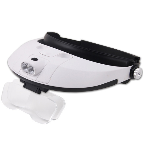 Deluxe Binocular Headband Magnifier with LED Light Includes Five Interchangeable Lens