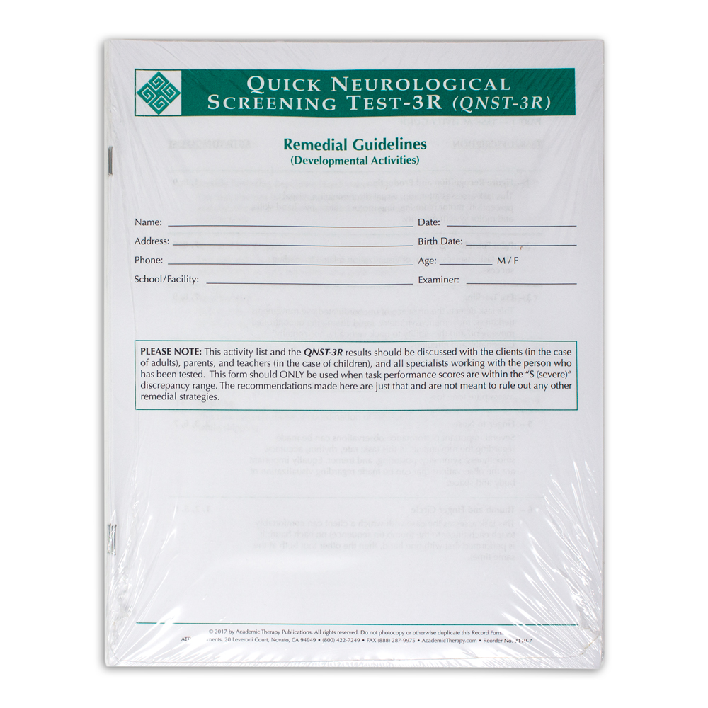 Quick Neurological Screening Test 3R Remedial Guideline Forms