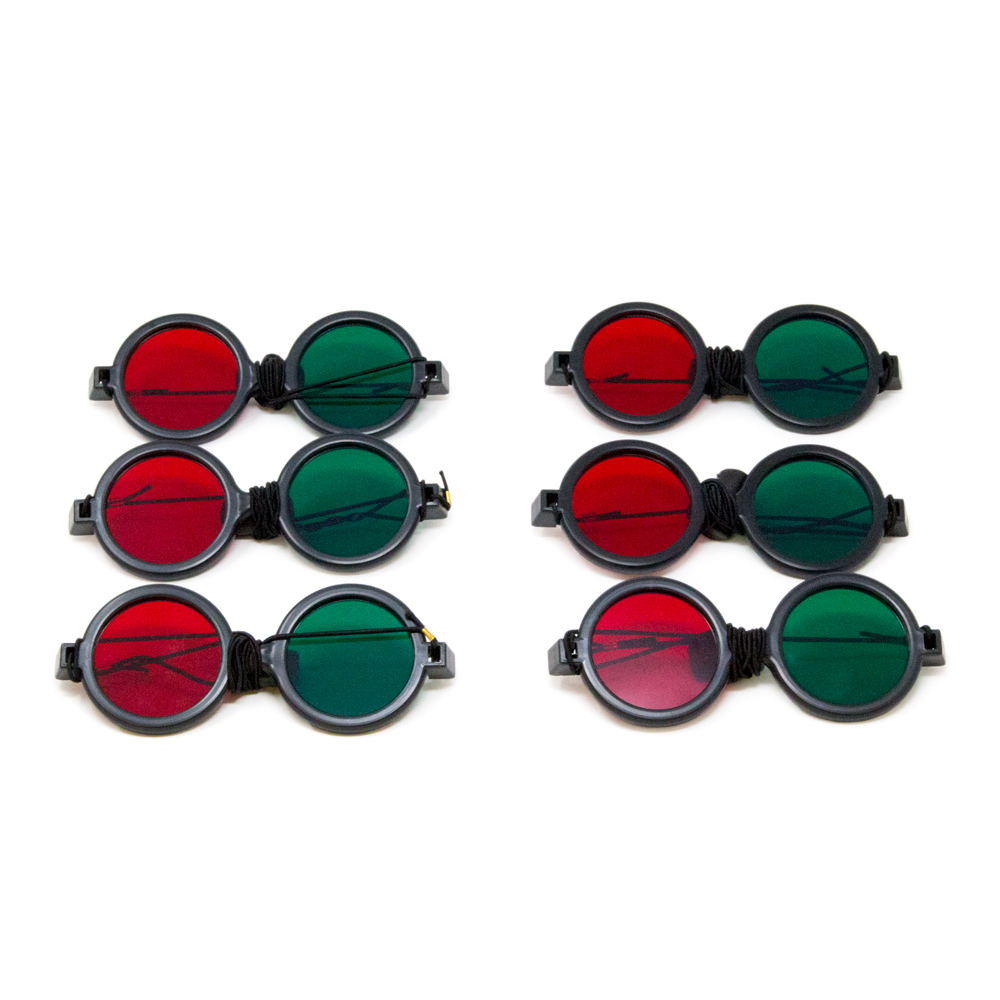 Deluxe Reversible - Red/Green Goggles with Elastic (Pkg. of 6)