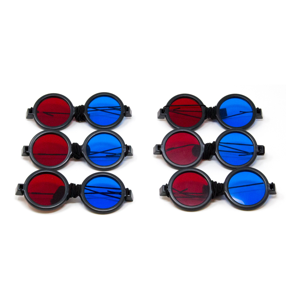 Deluxe Reversible - Red/Blue Computer Goggles with Elastic (Pkg. of 6)