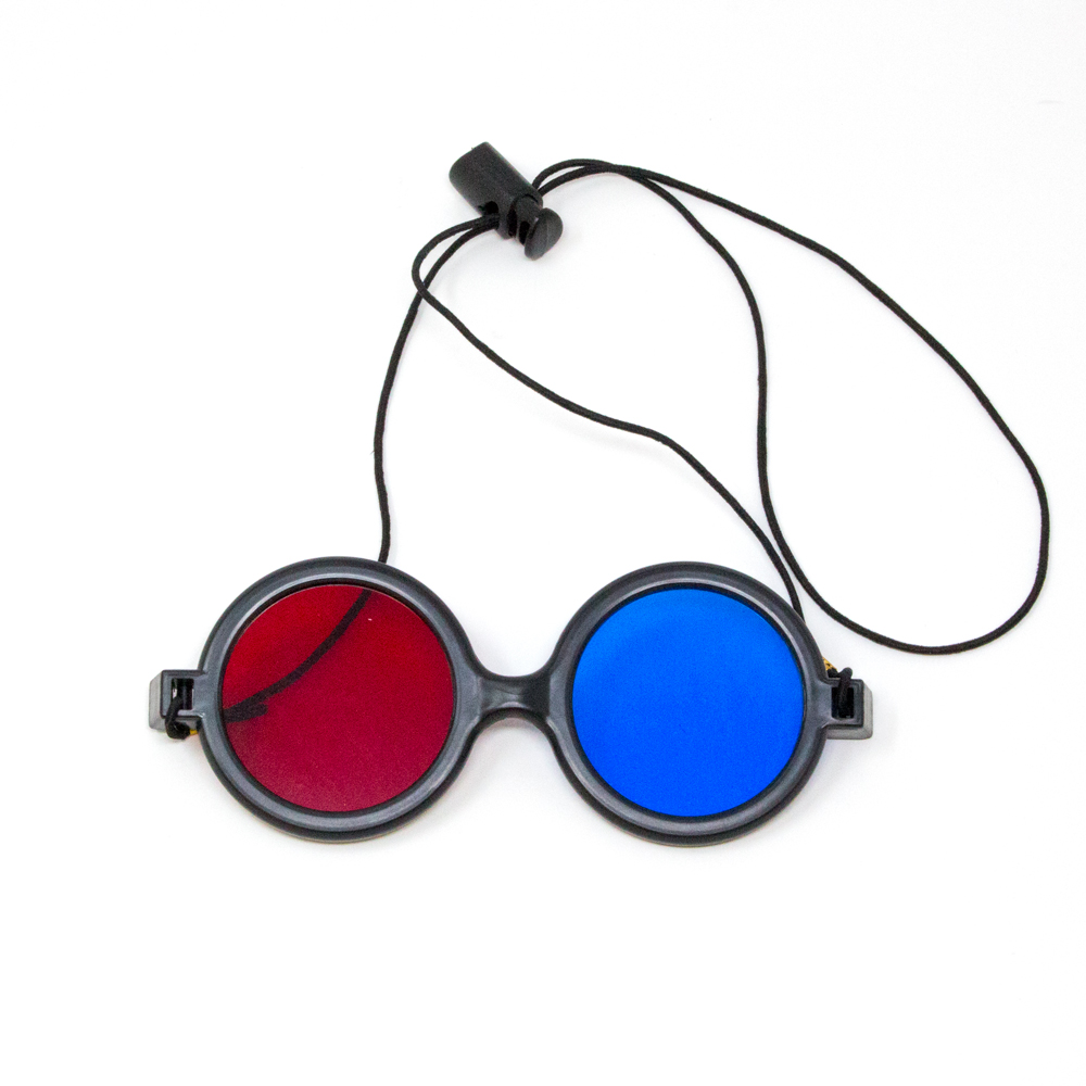 Deluxe Reversible - Red/Blue Computer Goggles with Elastic (Single Pair)