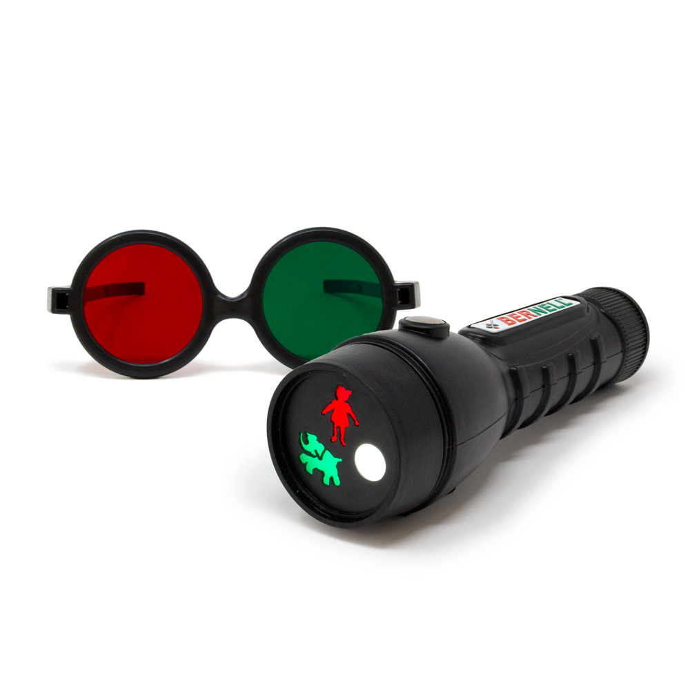 3-Figure Test Flashlight with Reversible Glasses