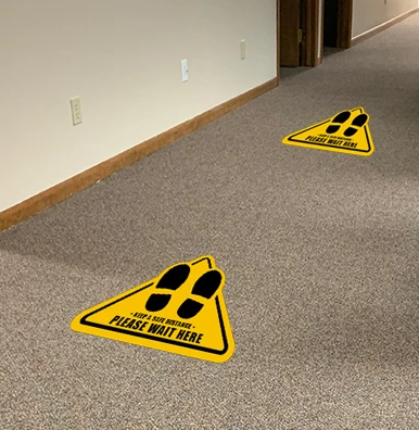 Social Distancing Vinyl Floor Graphics for Carpet Floors
