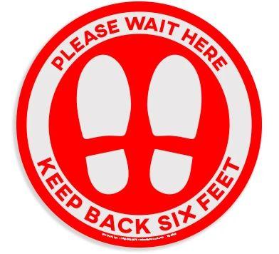 "Red Circle - ""Please Wait Here"" Vinyl Floor Sticker for Carpet"